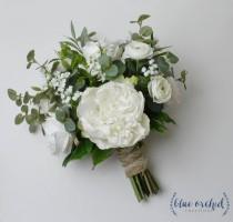 wedding photo - Silk Wedding Bouquet, Boho Bouquet, Bridal Bouquet, Greenery Bouquet, Silk Flowers, Artificial Bouquet, Wedding Flowers, Green, White, Cream