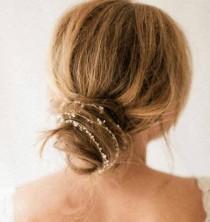 wedding photo - Bridal Hair Halo Pearl Headband Dainty Vintage Boho Wedding Headpiece Hair Wrap Crystal Backside Tiara Bride Hair Drape LEIGH Head Chain