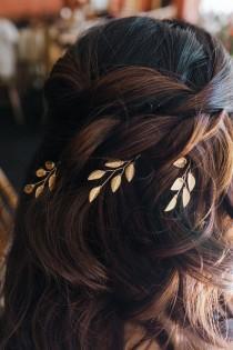 wedding photo - Gold Hair Pins, Wedding Hair Vine, Leaf Hair Vine, Bridal Hair Comb, Wedding Hair Clip, Vine Headpiece, Vine Hairpiece