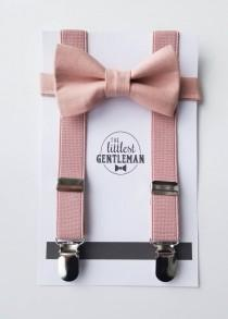 wedding photo - boys dusty pink bow tie  and suspenders set , suspenders, ring bearer outfit, page boy, braces, boys wedding bow, dusty pink