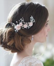 wedding photo - Blush Flower Hair Clip, Floral Bridal Hair Clip, Pearl Bridal Hair Clip, Bridal Hair Comb, Bridal Hair Accessory, Floral Headpiece ~TC-2307