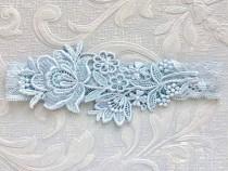 "wedding photo - Blue Lace Bridal Garter, Blue Garter, Bridal Garter, Lace Wedding Garter, Elegant Garter, Garter, Simple Garter, Bridal Shower Gift ""Flora"""