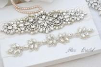 wedding photo - Wedding ivory lace garter set ,Bridal garter set , Crystal  bridal garter . Wedding garter , wedding gift