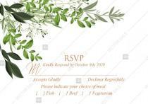 wedding photo -  RSVP greenery herbal template watercolor edit online 5x3.5 in pdf