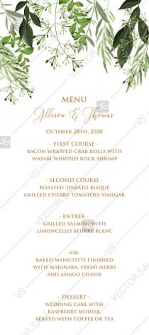 wedding photo -  Menu design greenery herbal watercolor template edit online 4x9 in pdf