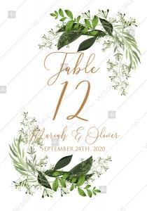 wedding photo -  Table card greenery watercolor herbal template edit online 3.5x5 pdf