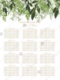 wedding photo -  Seating Chart wedding watercolor greenery herbal template edit online 18x24 in pdf
