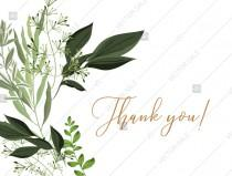 wedding photo -  Thank you card greenery watercolor herbal template edit online 5.6x4.25 in pdf