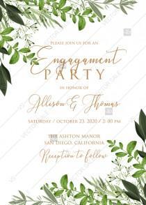 wedding photo -  Engagement invitation watercolor greenery herbal template edit online 5x7 pdf