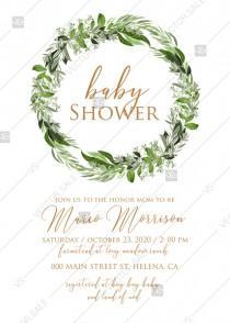 wedding photo -  Baby shower invitation watercolor wreath greenery herbal template edit online 5x7 pdf