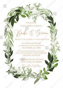 wedding photo -  Wedding invitation wreath greenery herbal template edit online 5x7 in pdf