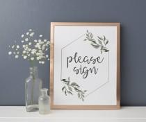 wedding photo - Please Sign Our Guestbook Sign - Guest Book Sign - Guest Book Table Printable - Rose Gold and Grey Wedding - Geometric and Greenery Decor
