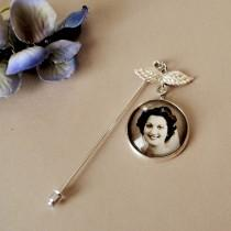 wedding photo - Memorial Boutonniere Photo Charm, Groom Boutonniere Charm, Lapel Pin, Groom Gift