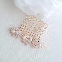 wedding photo - Bridal Hair Comb Rose Gold, Wedding Headpiece, Small Bridal Comb, CZ Crystal and Pearl Hair Slide, Bridal Hair Jewelry, Bridget