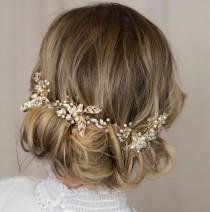 wedding photo - Woodland Wedding Hairvine - Gold Leaf, Pearl, Crystal bridal hair accessory, hairpiece, vine, headdress, tiara hair adornment boho headpiece