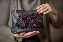 wedding photo - Leather Handbag Black and Purple Leather Clutch Purse Evening Bag with flowers Mothers Day Gift for her Bridal Shower Gothic Girlfriend Gift