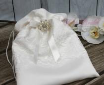 wedding photo - FAST SHIPPING!! Beautiful and Romantic Cosmetic Bag, Lace Flower Cosmetic Bag, Wedding Bag, Money Bag, Bridal Bag, Ivory Bridal Purse