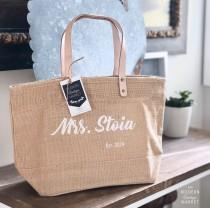 wedding photo - Bachelorette Mrs. Bag Personalized Jute Tote Bag,Custom Beach Bag,Personalized Gift for her, Gift For Bride,Bridal Totes,Bridal Shower Gift,