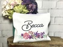 wedding photo - Makeup bag for bridemaids, bridemaid gift, bridesmaid cosmetic bag, personalized makeup bag, makeup bag set , floral makeup bag with name
