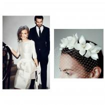wedding photo - WHITE Birdcage veil floral fascinator // 1930s vintage wedding veil with white roses // Wedding headpiece with french net veil - white veil