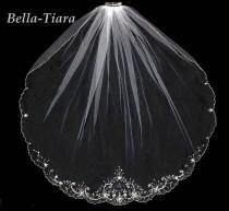 wedding photo - beaded crystal wedding veil, beaded wedding veil, one tier beaded veil, crystal beaded wedding veil, beaded bridal veil