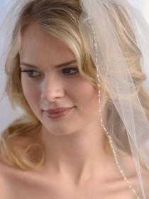 wedding photo - Beaded Crystal Wedding Veil, Ivory Wedding Veil, Crystal Beaded Bridal Accessory, Wedding Veil, Rhinestone Veil, Bridal Headpiece ~VB-5032