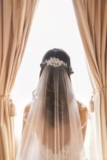 wedding photo - Sheer simple veil, one tier bridal veil, no gather on comb veil- raw edge drop wedding veil, long illusion veil -flowing veil