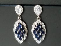 wedding photo - Navy Blue Bridal Earrings, Marquise Wedding Earrings, Sapphire Cubic Zirconia Silver Earrings, Wedding Earrings, Dark Blue Statement Earring