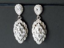wedding photo - Cubic Zirconia Bridal Earrings, Marquise Crystal Earrings, Wedding Chandelier Earrings, Sparkly Earrings, Statement Earrings, Bridal Jewelry