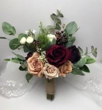 wedding photo - Wedding Bouquets, Bridal Bridesmaids Bouquets, Winter Wedding Bouquet, Burgundy blush Bouquet, Boho Bouquet, Peonies, Eucalyptus, Dusty Rose