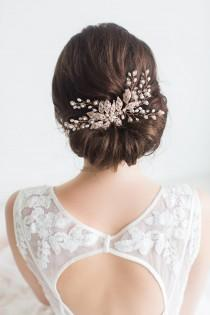 wedding photo - Rose Gold Wedding Hair Comb, Rose Gold Wedding Hairpiece, Crystal Bridal Comb, Bridal Headpiece, Freshwater Pearl Beaded Hair Comb