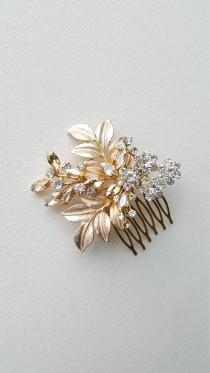 wedding photo - Gold Bridal Hair Comb, Wedding Headpiece, Gold Bridal Comb, Gold Wedding Hair Comb