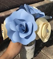 wedding photo - Paper Flower Bouquet - Wedding Paper Bouquet - Wedding Bouquet - Paper Flowers - Flower Girl Bouquet - Bridal Bouquet - Blue Ivory Flowers