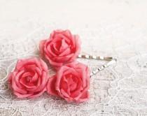 wedding photo - Hair accessories Pink wedding rose hair pins PInk flower pins Hair pins wedding Bridal hair piece Flowers hair accessories clips # 71