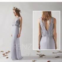 wedding photo - V Back Party Dress Bridesmaid Dress Light Gray Chiffon Dress Illusion Jewel Neck Maxi Dress Sleeveless Fitted Prom Dress Wedding Dress(H443)