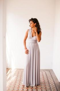 wedding photo - Pearl grey long dress, light grey infinity dress long, bridesmaid dress, prom dress, grey maxi dress, long grey dress, party dress, formal