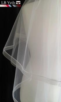 wedding photo - 2 Tier, Veil, Ribbon, Edge, Plain, Wedding, Organza, Ivory, White, Cream, Waist, Length, Elbow, Fingertip, Short, Floor, LB Veils LBV184 UK