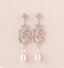 wedding photo - Wedding Earrings, Wedding Jewelry, Chandelier wedding earrings, Swarovski Crystal, Bridesmaids, Kathryn Crystal Earrings