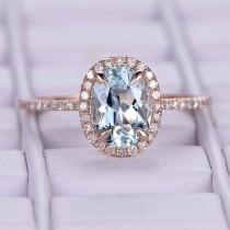 wedding photo - 6x8mm Aquamarine Engagement ring/14k rose gold diamond band/Halo Stacking ring/art deco bridal ring/Oval cut promise wedding ring/Bezel set