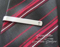 wedding photo - Cross Tie Clip, Fathers Day Gift, Gifts for Boyfriend, Personalized Tie Clip, Officiant Thank You Gift, Father of the Bride Gift