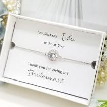 wedding photo - Weddings Flat Halo Slide Adjustable Silver Bracelet ,Bridesmaid Bracelet, Jewelry gift