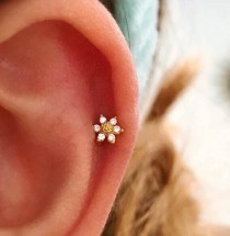 wedding photo - CZ Mini Sunflower cartilage earring, small tragus earring, dainty barbell flower stud, helix daith conch earring, tiny flower tragus earring