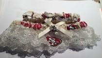 wedding photo - San Francisco 49ers football Wedding Bridal Bride  Ivory Cream Lace trim Sequin Garter set