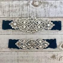wedding photo - Something Blue Bridal Garter, navy garter, NO SLIP Lace Wedding Garter Set, bridal garter set, vintage rhinestones NAVY D01S-D02S