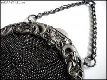 wedding photo - Antique Art Nouveau Chatelaine Purse - Gothic Victorian Medusa with Dragons - Silver Plate Beaded Purse