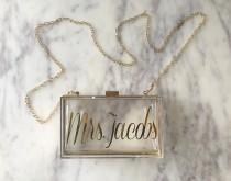 wedding photo - Personalized Acrylic Clutch, Box Clutch, Custom Mrs. Clutch, Bridal Clutch, Custom Bride Clutch, Mrs. Purse, Acrylic Purse, Acrylic Clutch