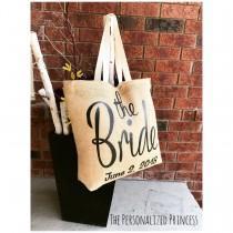 wedding photo - Wedding Jute Tote Bags, Bride Tote Bags, Wedding Party Gifts, Bride, Custom Wedding tote bags, Bride gifts, Wedding party, Bachelorette