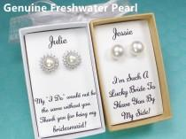 wedding photo - bridesmaid gifts, bridesmaid earrings, freshwater pearl stud earrings, white pearl earring, wedding earrings, bridal earrings,bridal jewelry