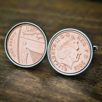 wedding photo - 2012 Copper 7th Anniversary Cufflinks 2012 Penny Birth Year Coin Cufflink 7th Coin Cufflinks Men Birthday Copper Anniversary Present Gift 1p
