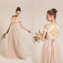 wedding photo - Formal Dress Long Pale Khaki Tulle Sweetheart Prom Dress A-line Womens Dress (LS482)